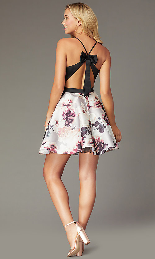 Image of short homecoming dress with floral-print skirt. Style: CT-5752QA8DT3 Back Image
