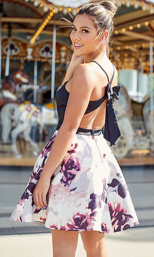 Image of short homecoming dress with floral-print skirt. Style: CT-5752QA8DT3 Detail Image 3