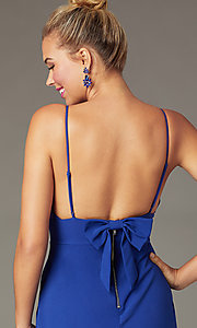 Image of indigo blue short party dress with back bow. Style: CT-7253BX9T3 Detail Image 1
