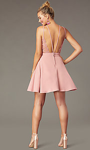 Image of short wedding-guest party dress in soft pink. Style: CT-7711BS5BT3 Back Image