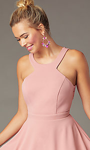 Image of short wedding-guest party dress in soft pink. Style: CT-7711BS5BT3 Detail Image 1