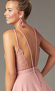Image of short wedding-guest party dress in soft pink. Style: CT-7711BS5BT3 Detail Image 2