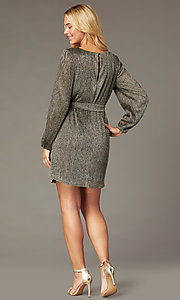 Image of holiday glitter party short dress with long sleeves. Style: CT-7368CF3AT3 Back Image