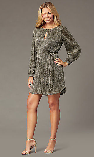 Holiday Glitter Party Short Dress with Long Sleeves