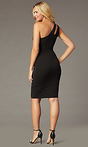 Image of one-shoulder little black holiday party dress. Style: CT-1520BU6BT3 Back Image