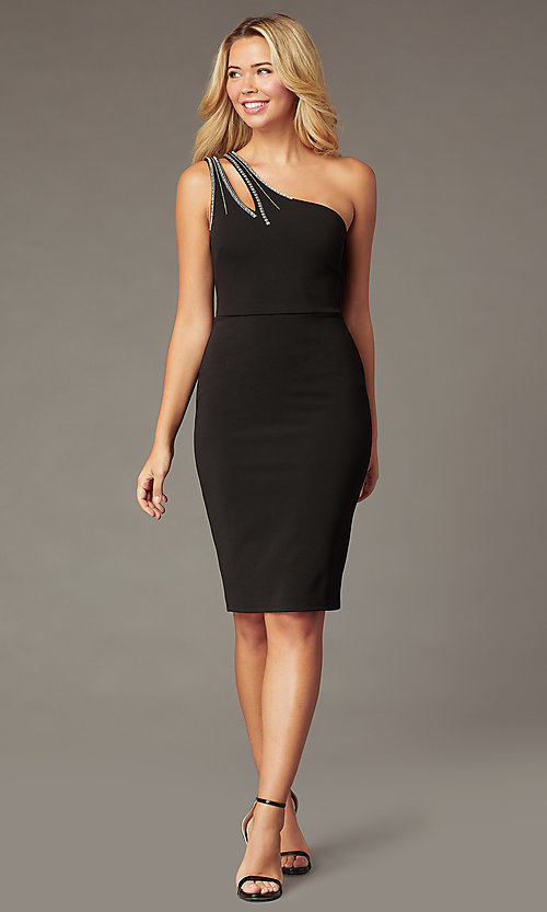 Image of one-shoulder little black holiday party dress. Style: CT-1520BU6BT3 Front Image