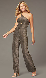 Image of one-shoulder glitter-knit holiday party jumpsuit. Style: CT-7877CK8AT3 Front Image