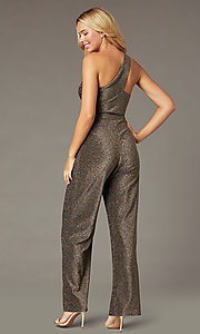 Image of one-shoulder glitter-knit holiday party jumpsuit. Style: CT-7877CK8AT3 Back Image