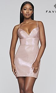 Image of short metallic homecoming dress with back slit. Style: FA-S10350 Front Image