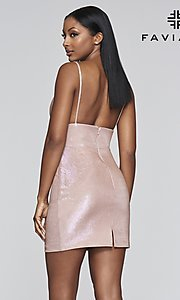 Image of short metallic homecoming dress with back slit. Style: FA-S10350 Back Image