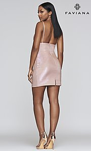Image of short metallic homecoming dress with back slit. Style: FA-S10350 Detail Image 2