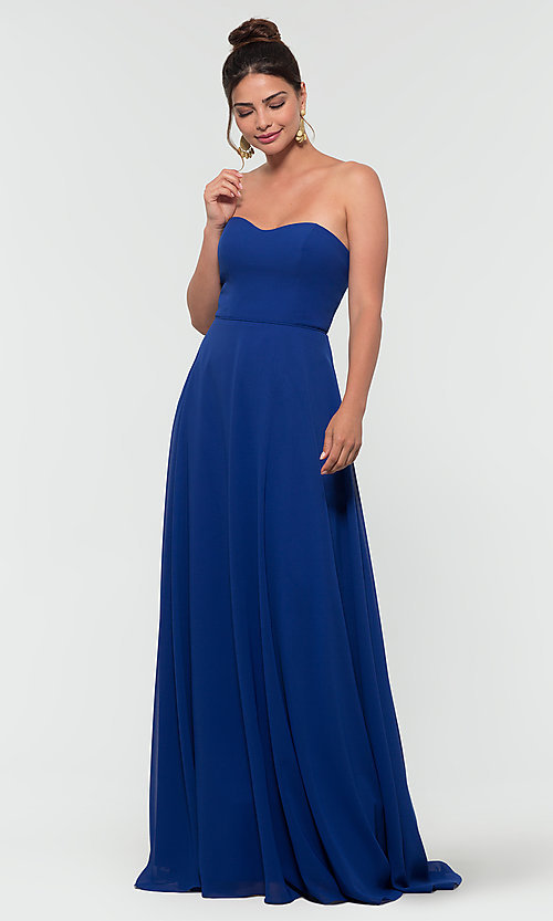 Image of Kleinfeld long removable-strap bridesmaid dress. Style: KL-200009-v Front Image