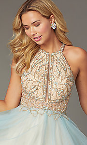 Image of beaded-bodice short tulle homecoming dress. Style: TI-GL-1821H7929 Detail Image 1