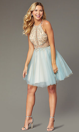 Beaded-Bodice Short Tulle Homecoming Dress