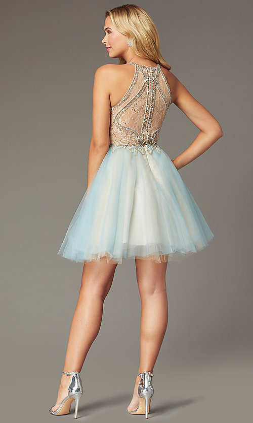 Image of beaded-bodice short tulle homecoming dress. Style: TI-GL-1821H7929 Back Image