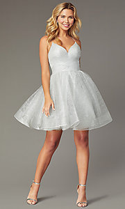 Image of pleated-bodice v-neck short tulle homecoming dress. Style: TI-GL-1921H0334 Front Image