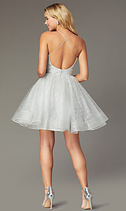 Image of pleated-bodice v-neck short tulle homecoming dress. Style: TI-GL-1921H0334 Back Image