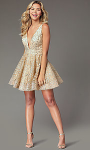 Image of short gold embroidered homecoming party dress. Style: TI-GL-1925H0698 Front Image