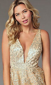 Image of short gold embroidered homecoming party dress. Style: TI-GL-1925H0698 Detail Image 1