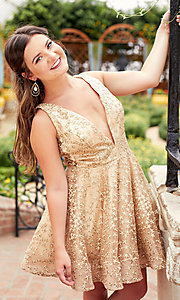 Image of short gold embroidered homecoming party dress. Style: TI-GL-1925H0698 Detail Image 2