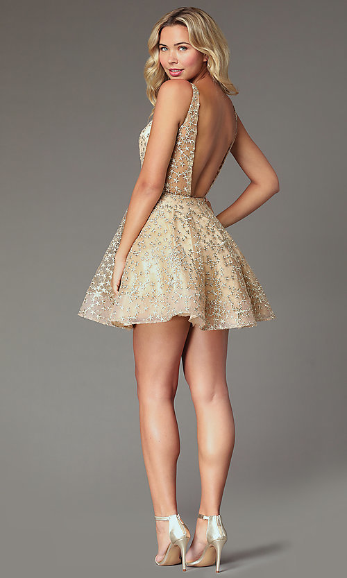 Image of short gold embroidered homecoming party dress. Style: TI-GL-1925H0698 Back Image