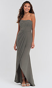 Image Kleinfeld chiffon high-low bridesmaid dress. Style: KL-200050-v Detail Image 1