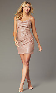 Image of Faviana metallic cowl-neck short homecoming dress. Style: FA-S10351 Front Image