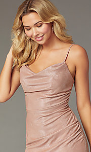 Image of Faviana metallic cowl-neck short homecoming dress. Style: FA-S10351 Detail Image 1