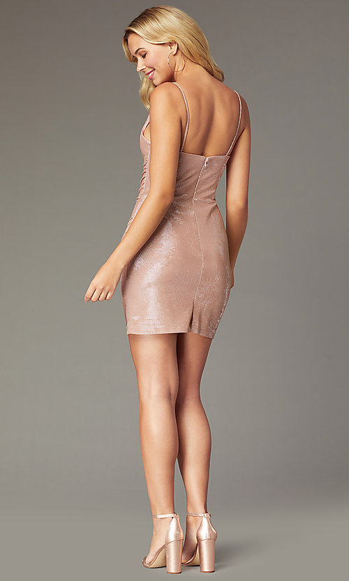 Image of Faviana metallic cowl-neck short homecoming dress. Style: FA-S10351 Back Image