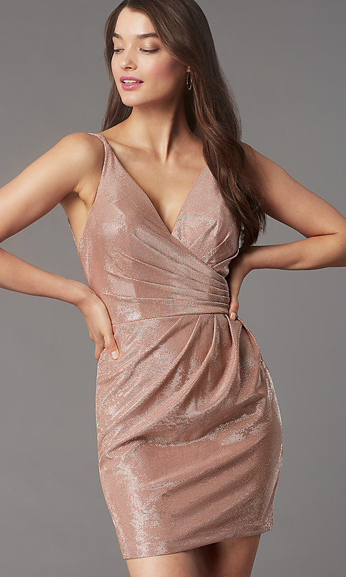 Image of ruched-bodice short v-neck cocktail party dress. Style: FA-10352 Front Image