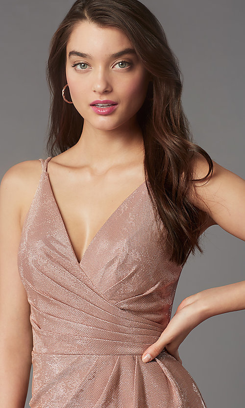 Image of ruched-bodice short v-neck cocktail party dress. Style: FA-10352 Detail Image 2
