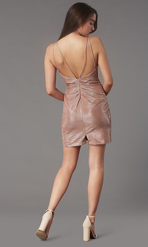 Image of ruched-bodice short v-neck cocktail party dress. Style: FA-10352 Detail Image 3