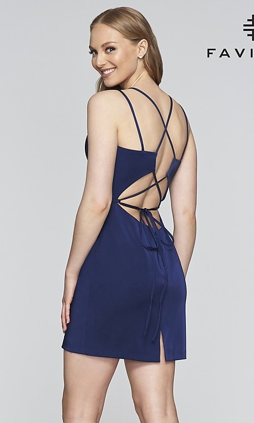 Image of Faviana corset-open-back short party dress. Style: FA-S10358 Back Image