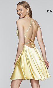 Image of a-line homecoming dress with scoop neckline. Style: FA-S10361 Back Image