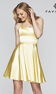 Image of a-line homecoming dress with scoop neckline. Style: FA-S10361 Front Image