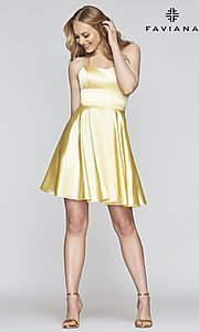 Image of a-line homecoming dress with scoop neckline. Style: FA-S10361 Detail Image 1