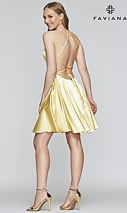 Image of a-line homecoming dress with scoop neckline. Style: FA-S10361 Detail Image 2