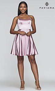 Image of a-line homecoming dress with scoop neckline. Style: FA-S10361 Detail Image 7