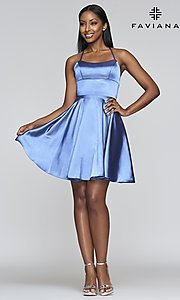 Image of a-line homecoming dress with scoop neckline. Style: FA-S10361 Detail Image 8