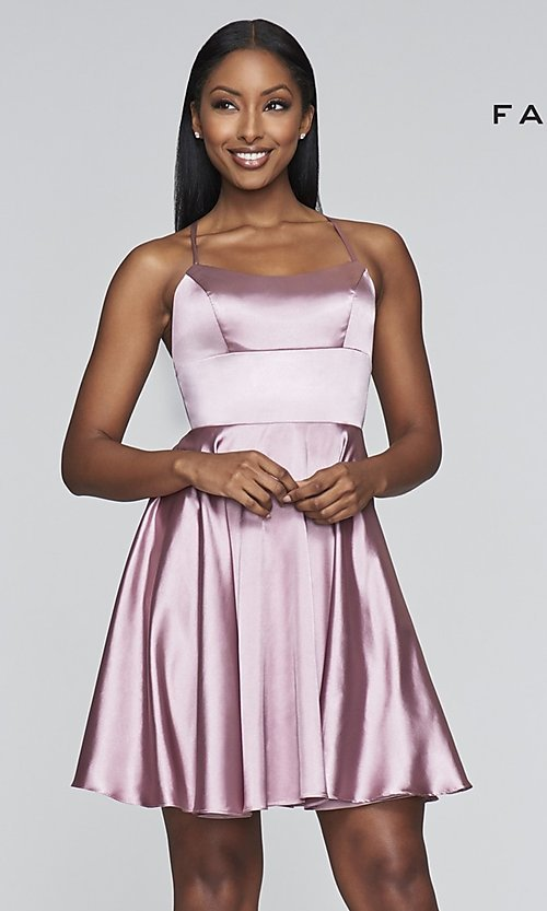 Image of a-line homecoming dress with scoop neckline. Style: FA-S10361 Detail Image 5