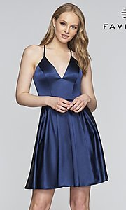 Image of Faviana v-neck homecoming dress with open back. Style: FA-S10362 Detail Image 3