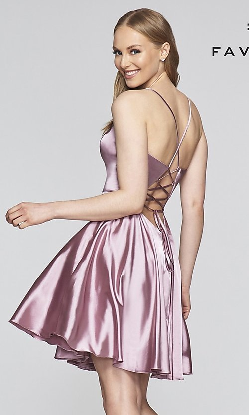 Image of Faviana v-neck homecoming dress with open back. Style: FA-S10362 Back Image