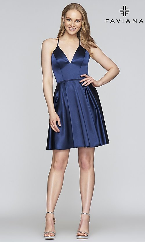 Image of Faviana v-neck homecoming dress with open back. Style: FA-S10362 Detail Image 4