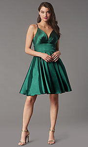 Image of short a-line open-back homecoming dress. Style: FA-S10363 Detail Image 2