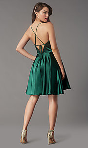 Image of short a-line open-back homecoming dress. Style: FA-S10363 Back Image