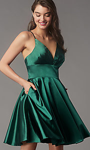 Image of short a-line open-back homecoming dress. Style: FA-S10363 Detail Image 3