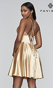 Image of short a-line open-back homecoming dress. Style: FA-S10363 Detail Image 5