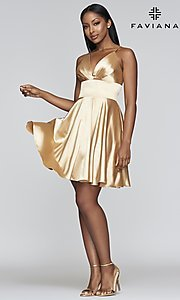 Image of short a-line open-back homecoming dress. Style: FA-S10363 Detail Image 7