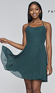 Image of evergreen short chiffon party dress by Faviana. Style: FA-S10369 Front Image