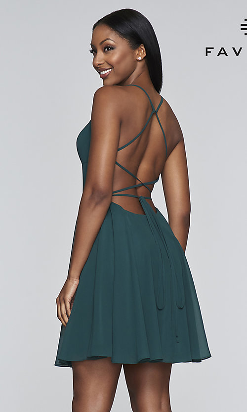 Image of evergreen short chiffon party dress by Faviana. Style: FA-S10369 Back Image